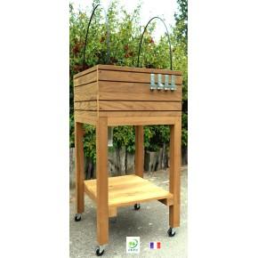 potager sur pieds en bois avec roulettes. Black Bedroom Furniture Sets. Home Design Ideas